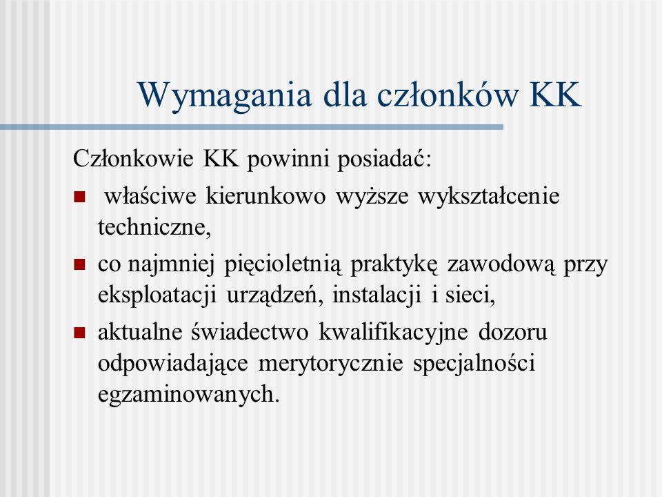 Wymagania dla członków KK Członkowie KK powinni posiadać: właściwe kierunkowo wyższe wykształcenie techniczne, co najmniej pięcioletnią praktykę zawod