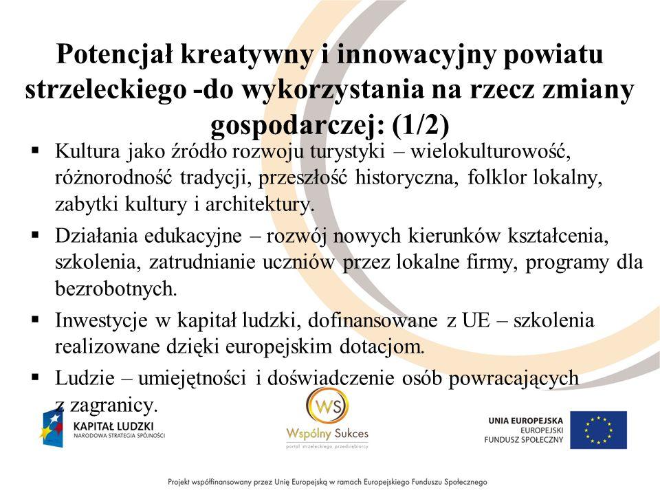Potencjał kreatywny i innowacyjny powiatu strzeleckiego -do wykorzystania na rzecz zmiany gospodarczej: (1/2) Kultura jako źródło rozwoju turystyki –