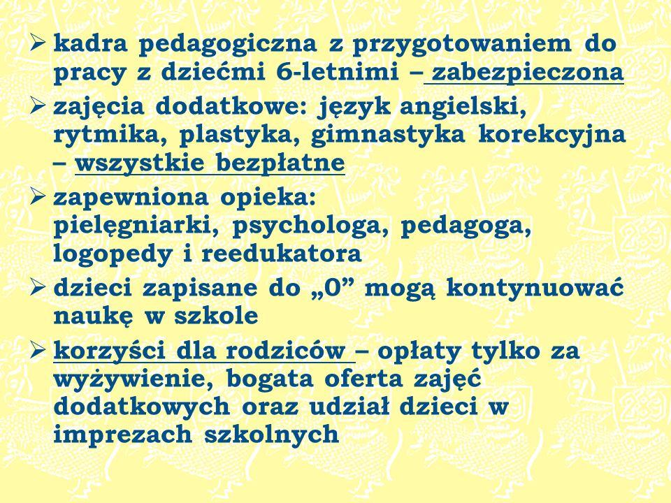 kadra pedagogiczna z przygotowaniem do pracy z dziećmi 6-letnimi – zabezpieczona zajęcia dodatkowe: język angielski, rytmika, plastyka, gimnastyka kor