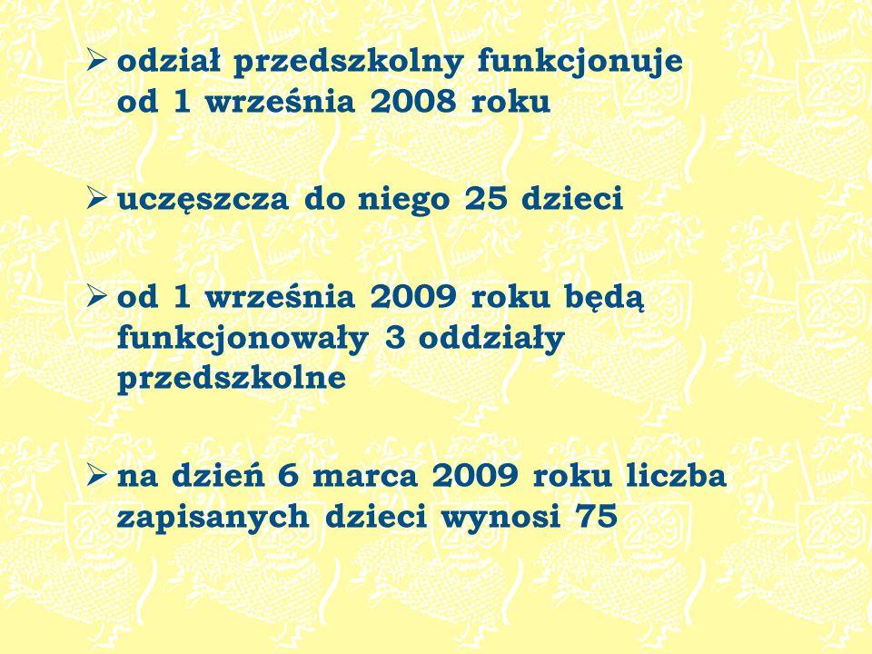 odział przedszkolny funkcjonuje od 1 września 2008 roku uczęszcza do niego 25 dzieci od 1 września 2009 roku będą funkcjonowały 3 oddziały przedszkoln
