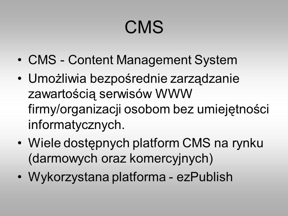 CMS CMS - Content Management System Umożliwia bezpośrednie zarządzanie zawartością serwisów WWW firmy/organizacji osobom bez umiejętności informatycznych.
