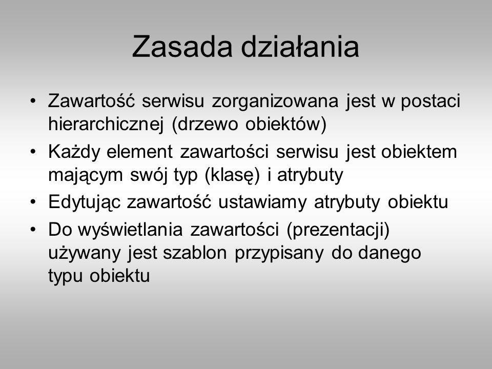 Zasada działania Zawartość serwisu zorganizowana jest w postaci hierarchicznej (drzewo obiektów) Każdy element zawartości serwisu jest obiektem mającym swój typ (klasę) i atrybuty Edytując zawartość ustawiamy atrybuty obiektu Do wyświetlania zawartości (prezentacji) używany jest szablon przypisany do danego typu obiektu