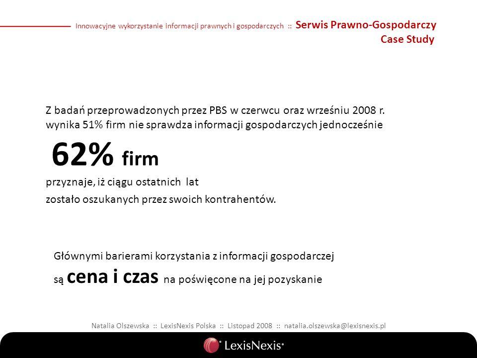 Natalia Olszewska :: LexisNexis Polska :: Listopad 2008 :: natalia.olszewska@lexisnexis.pl Innowacyjne wykorzystanie informacji prawnych i gospodarczych :: Serwis Prawno-Gospodarczy Case Study Z badań przeprowadzonych przez PBS w czerwcu oraz wrześniu 2008 r.