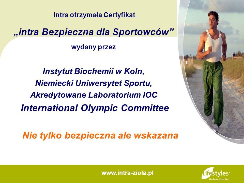 Intra otrzymała Certyfikat intra Bezpieczna dla Sportowców wydany przez Instytut Biochemii w Koln, Niemiecki Uniwersytet Sportu, Akredytowane Laborato