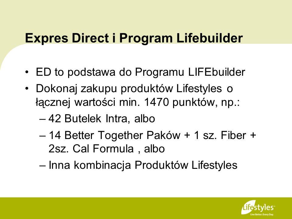 Expres Direct i Program Lifebuilder ED to podstawa do Programu LIFEbuilder Dokonaj zakupu produktów Lifestyles o łącznej wartości min. 1470 punktów, n