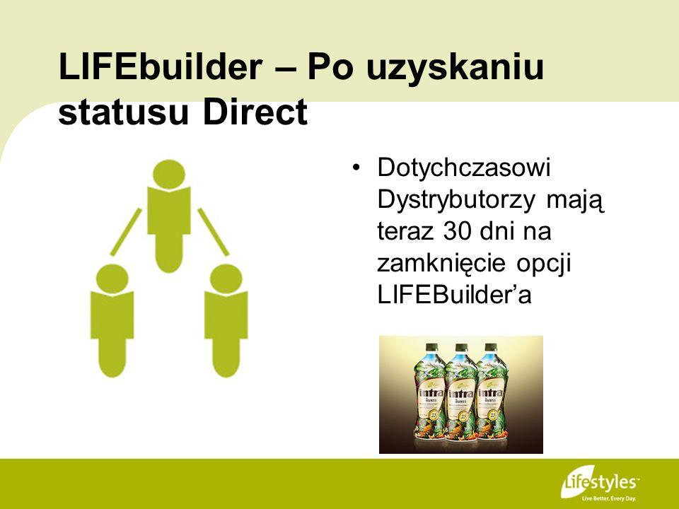LIFEbuilder – Po uzyskaniu statusu Direct Dotychczasowi Dystrybutorzy mają teraz 30 dni na zamknięcie opcji LIFEBuildera
