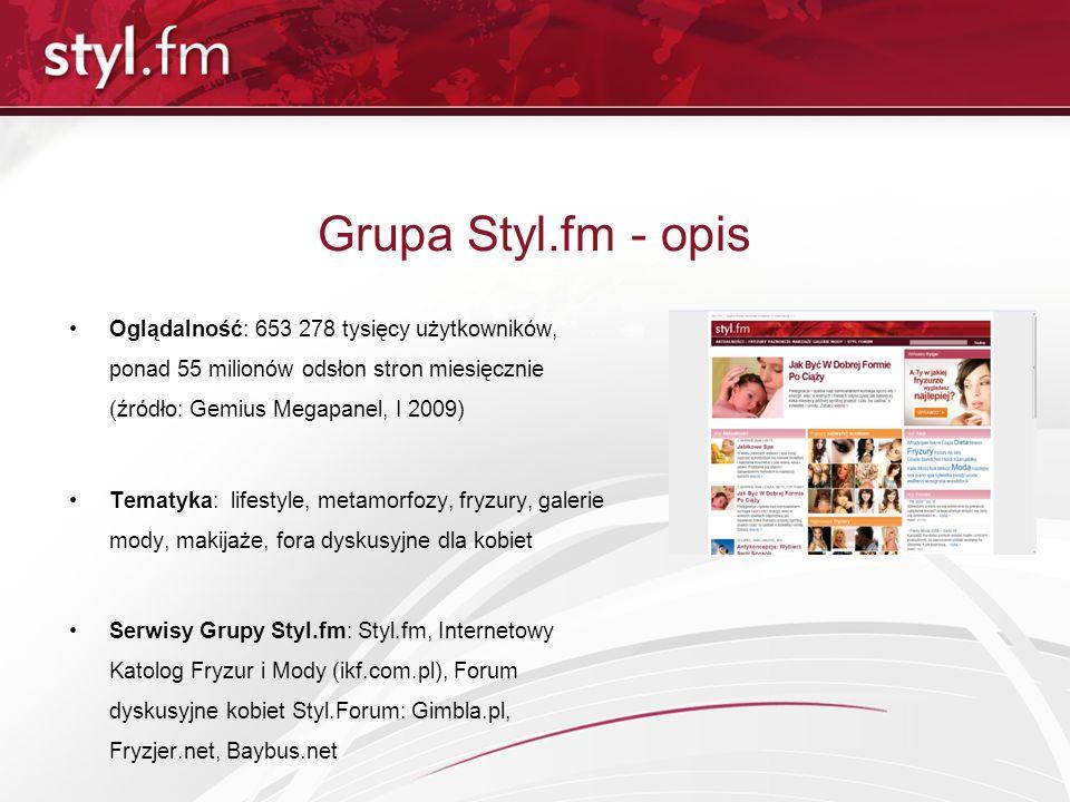 Grupa Styl.fm - opis Oglądalność: 653 278 tysięcy użytkowników, ponad 55 milionów odsłon stron miesięcznie (źródło: Gemius Megapanel, I 2009) Tematyka