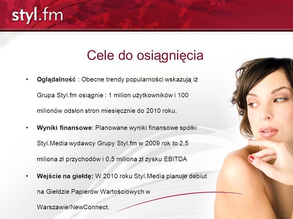 Otoczenie rynkowe Kategoria Styl życia w Megapanel Wśród niezależnych portali tematycznych w kategorii Styl Życia Grupa Styl.fm jest liderem pod względem liczby odsłon (ponad 55 mln) (źrodło: Gemius Megapanel, I 2009) Grupa Styl.fm jest 12-tym największym portalem internetowym w Polsce w kategorii Styl Życia (źródło: Gemius Megapanel, I 2009)