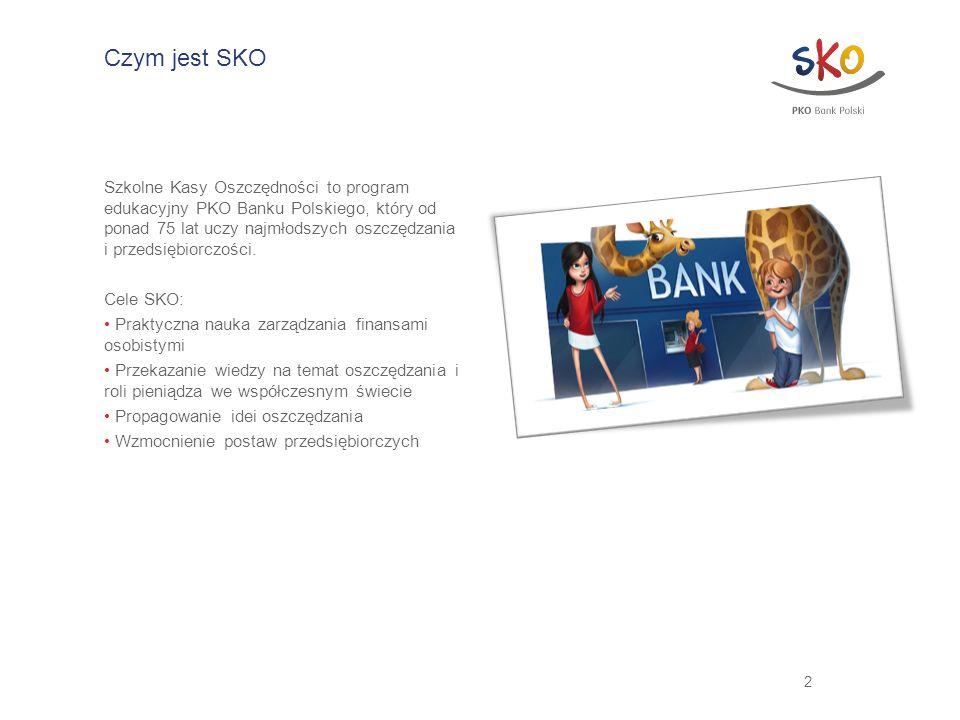2 Czym jest SKO Szkolne Kasy Oszczędności to program edukacyjny PKO Banku Polskiego, który od ponad 75 lat uczy najmłodszych oszczędzania i przedsiębi
