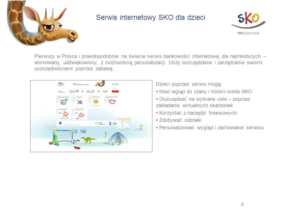 9 Serwis internetowy SKO dla dzieci Pierwszy w Polsce i prawdopodobnie na świecie serwis bankowości internetowej dla najmłodszych – animowany, udźwięk