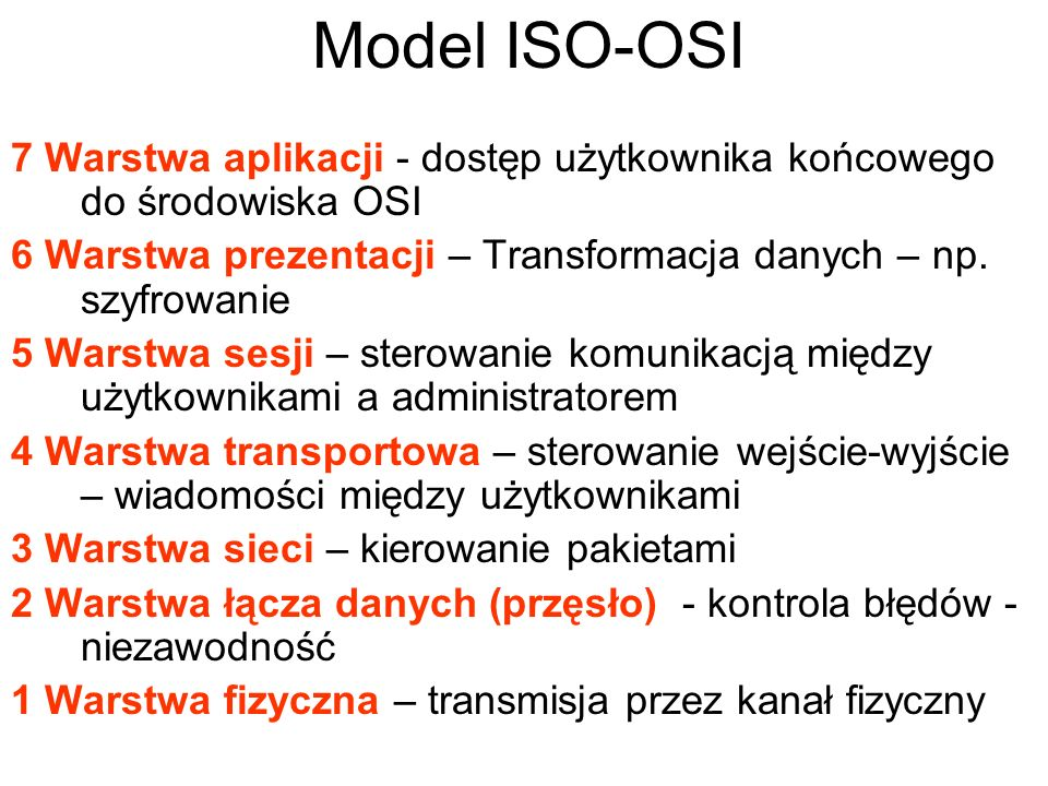 7 Warstwa aplikacji - dostęp użytkownika końcowego do środowiska OSI 6 Warstwa prezentacji – Transformacja danych – np. szyfrowanie 5 Warstwa sesji –