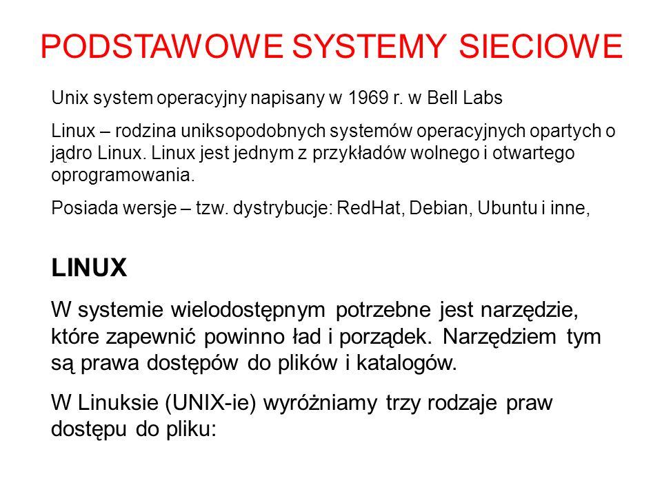LINUX W systemie wielodostępnym potrzebne jest narzędzie, które zapewnić powinno ład i porządek. Narzędziem tym są prawa dostępów do plików i katalogó