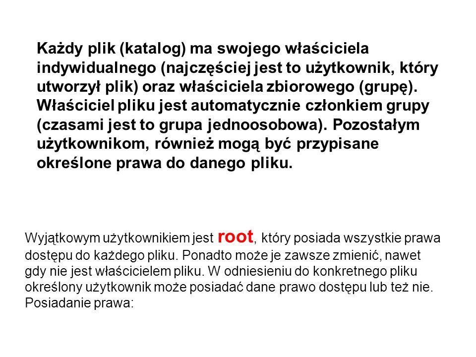 Wyjątkowym użytkownikiem jest root, który posiada wszystkie prawa dostępu do każdego pliku. Ponadto może je zawsze zmienić, nawet gdy nie jest właścic