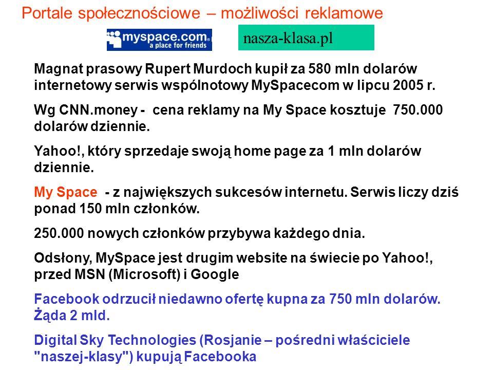 Magnat prasowy Rupert Murdoch kupił za 580 mln dolarów internetowy serwis wspólnotowy MySpacecom w lipcu 2005 r. Wg CNN.money - cena reklamy na My Spa