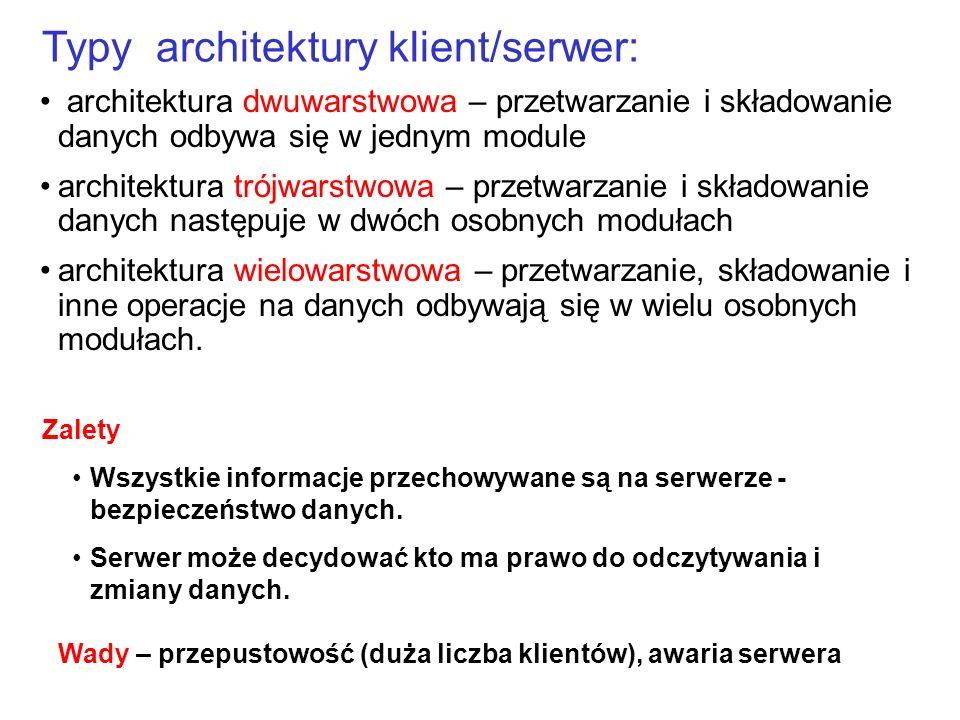 architektura dwuwarstwowa – przetwarzanie i składowanie danych odbywa się w jednym module architektura trójwarstwowa – przetwarzanie i składowanie dan