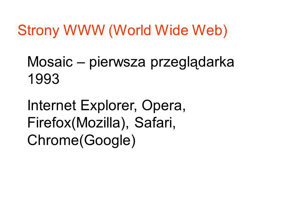 Strony WWW (World Wide Web) Mosaic – pierwsza przeglądarka 1993 Internet Explorer, Opera, Firefox(Mozilla), Safari, Chrome(Google)