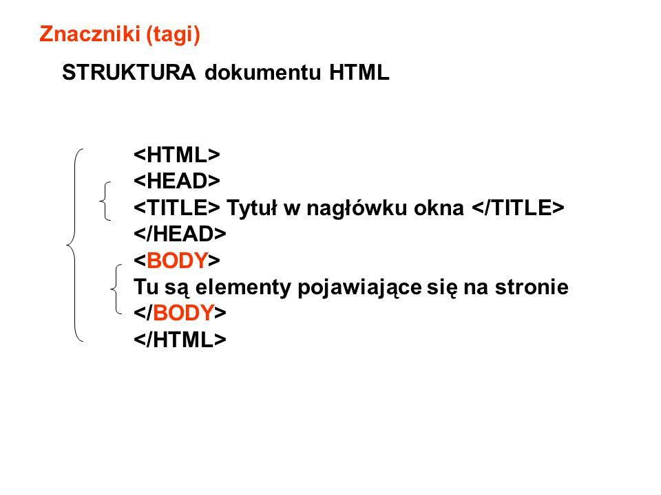 Znaczniki (tagi) Tytuł w nagłówku okna Tu są elementy pojawiające się na stronie STRUKTURA dokumentu HTML