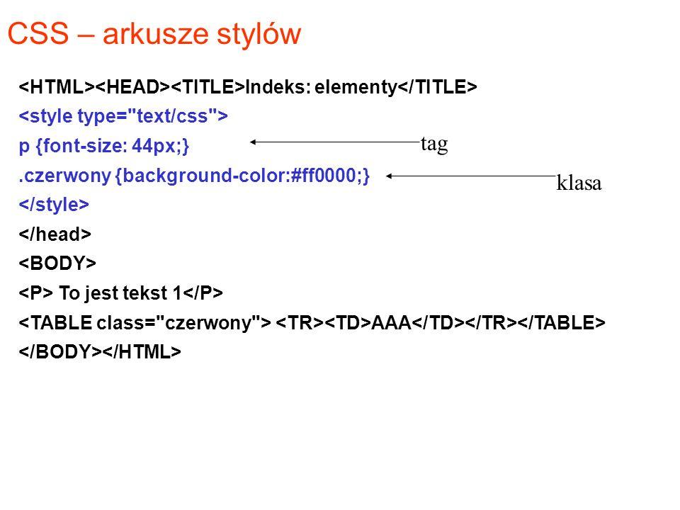 CSS – arkusze stylów Indeks: elementy p {font-size: 44px;}.czerwony {background-color:#ff0000;} To jest tekst 1 AAA tag klasa