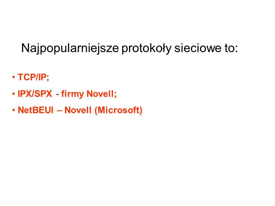 TCP/IP; IPX/SPX - firmy Novell; NetBEUI – Novell (Microsoft) Najpopularniejsze protokoły sieciowe to: