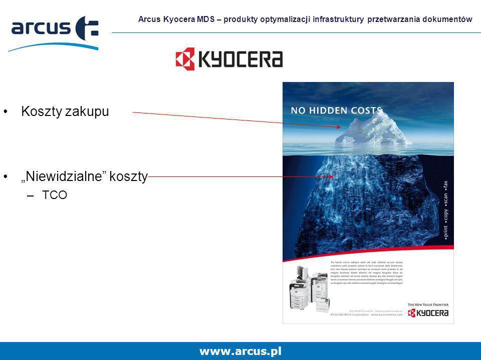 www.arcus.pl Arcus Kyocera MDS – produkty optymalizacji infrastruktury przetwarzania dokumentów Koszty zakupu Niewidzialne koszty –TCO