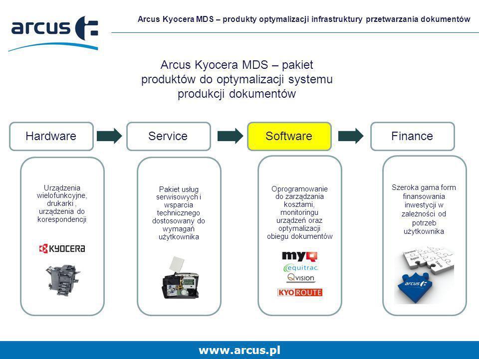 www.arcus.pl Arcus Kyocera MDS – produkty optymalizacji infrastruktury przetwarzania dokumentów Arcus Kyocera MDS – pakiet produktów do optymalizacji