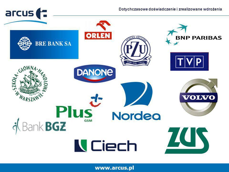 www.arcus.pl Dotychczasowe doświadczenie i zrealizowane wdrożenia