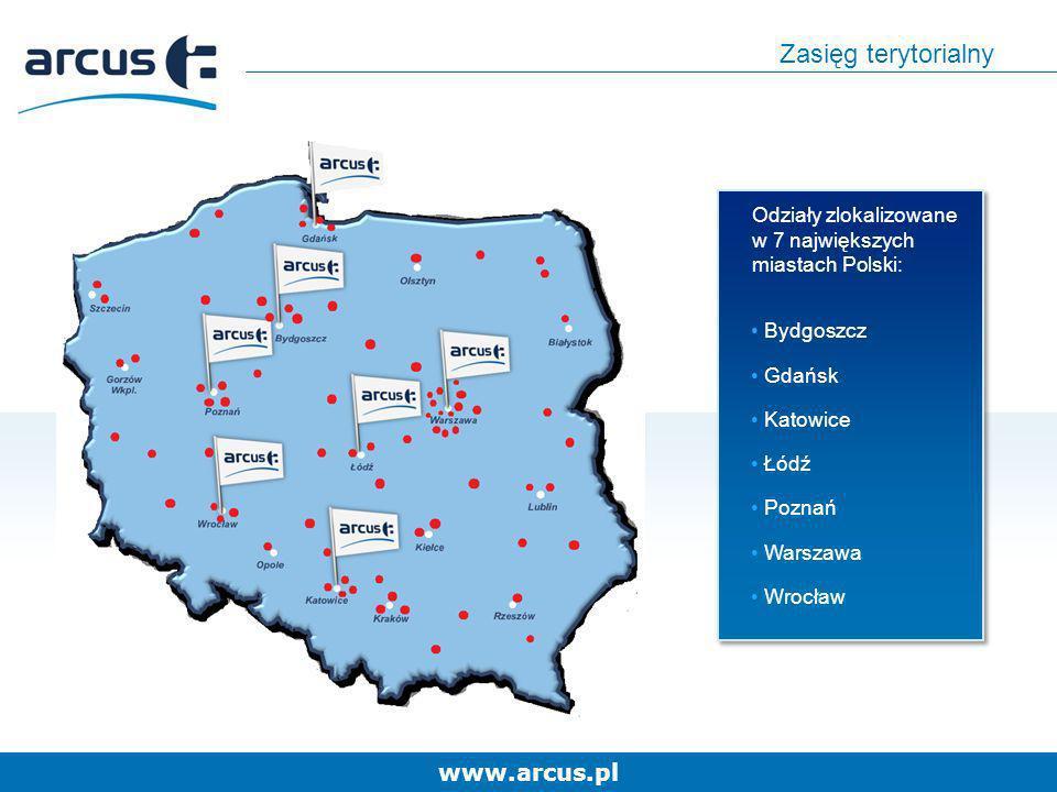 www.arcus.pl Zasięg terytorialny Odziały zlokalizowane w 7 największych miastach Polski: Bydgoszcz Gdańsk Katowice Łódź Poznań Warszawa Wrocław Odział