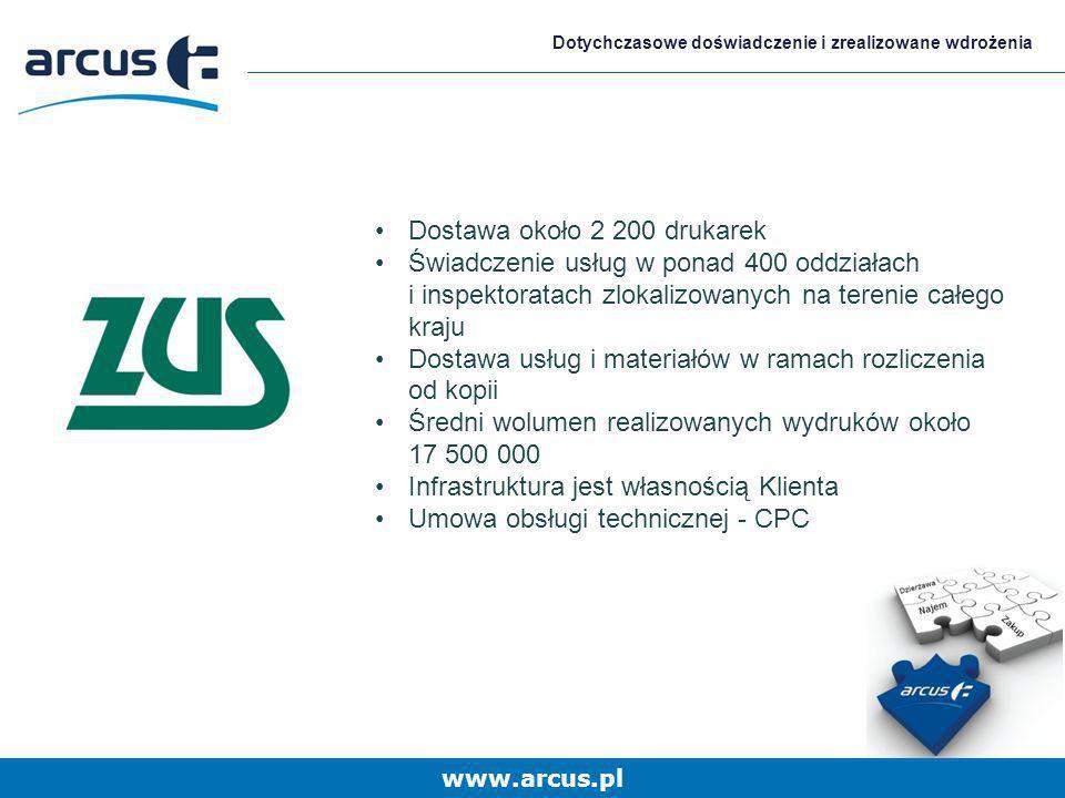 www.arcus.pl Dotychczasowe doświadczenie i zrealizowane wdrożenia Dostawa około 2 200 drukarek Świadczenie usług w ponad 400 oddziałach i inspektorata