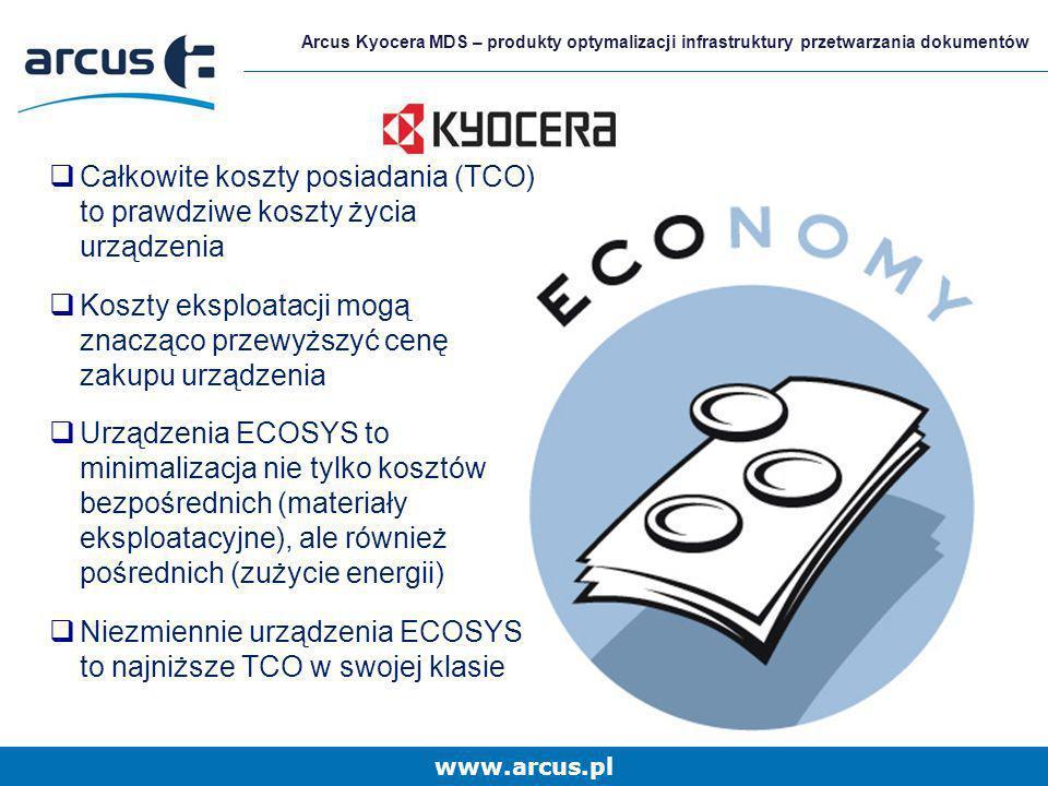 www.arcus.pl Arcus Kyocera MDS – produkty optymalizacji infrastruktury przetwarzania dokumentów Całkowite koszty posiadania (TCO) to prawdziwe koszty