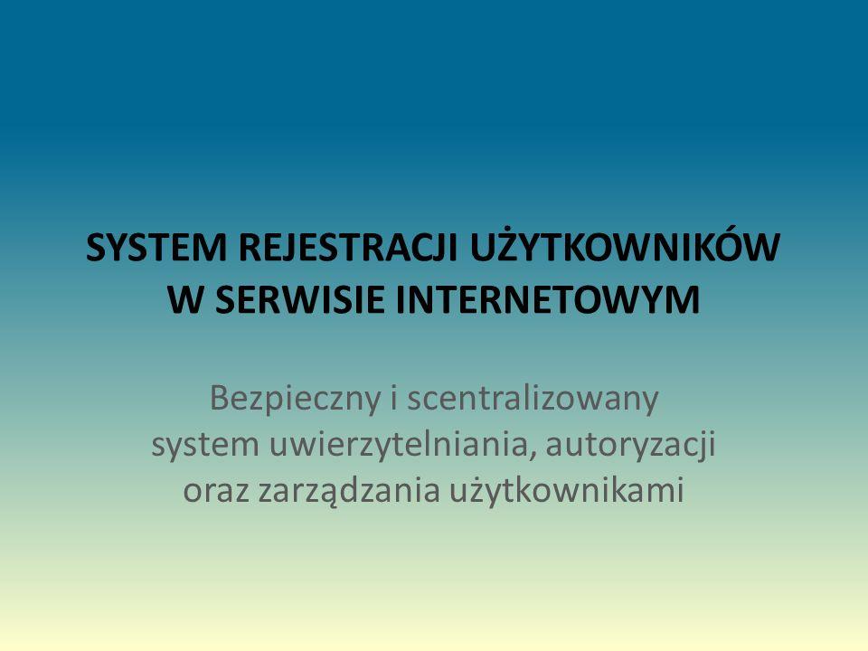 SYSTEM REJESTRACJI UŻYTKOWNIKÓW W SERWISIE INTERNETOWYM Bezpieczny i scentralizowany system uwierzytelniania, autoryzacji oraz zarządzania użytkownikami