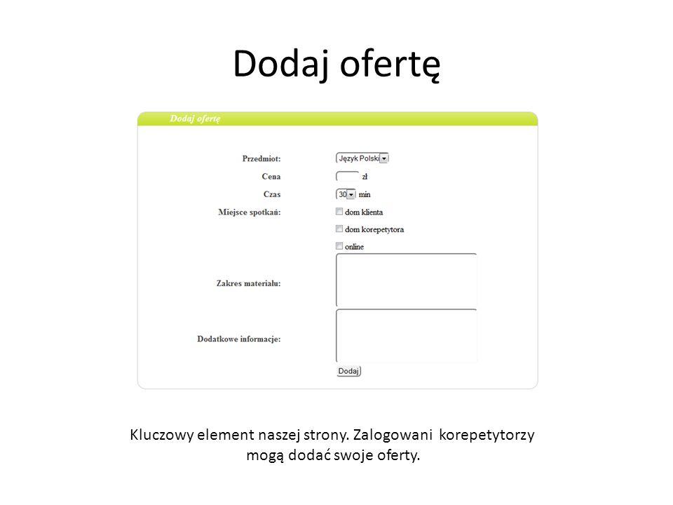 Dodaj ofertę Kluczowy element naszej strony. Zalogowani korepetytorzy mogą dodać swoje oferty.