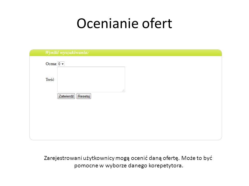 Ocenianie ofert Zarejestrowani użytkownicy mogą ocenić daną ofertę.