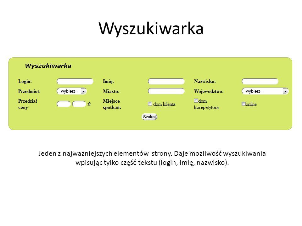 Wyszukiwarka Jeden z najważniejszych elementów strony. Daje możliwość wyszukiwania wpisując tylko część tekstu (login, imię, nazwisko).