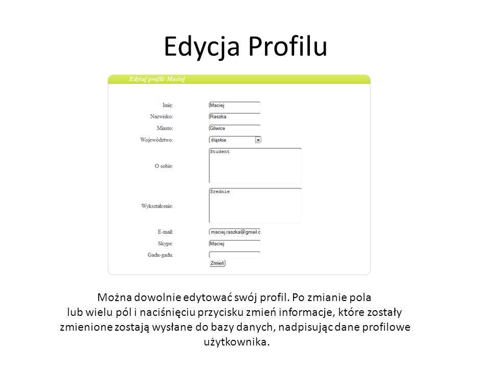 Edycja Profilu Można dowolnie edytować swój profil. Po zmianie pola lub wielu pól i naciśnięciu przycisku zmień informacje, które zostały zmienione zo