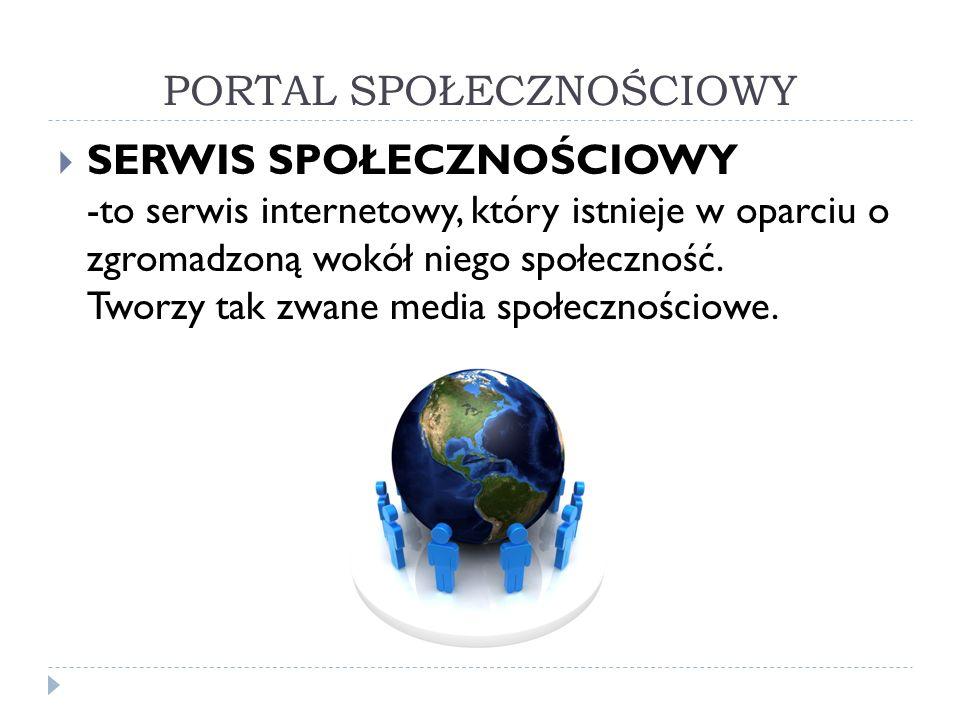 PORTAL SPOŁECZNOŚCIOWY SERWIS SPOŁECZNOŚCIOWY -to serwis internetowy, który istnieje w oparciu o zgromadzoną wokół niego społeczność. Tworzy tak zwane