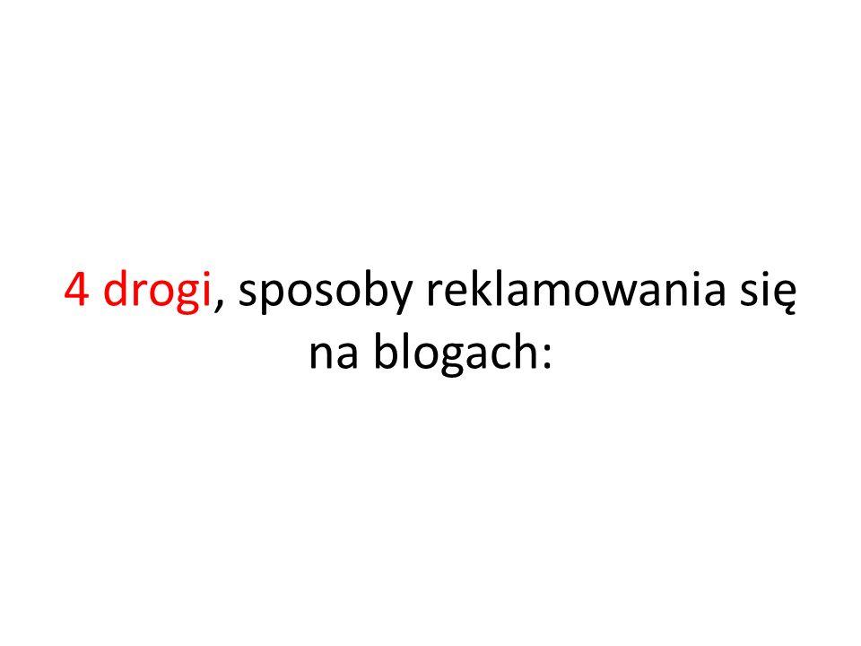 4 drogi, sposoby reklamowania się na blogach: