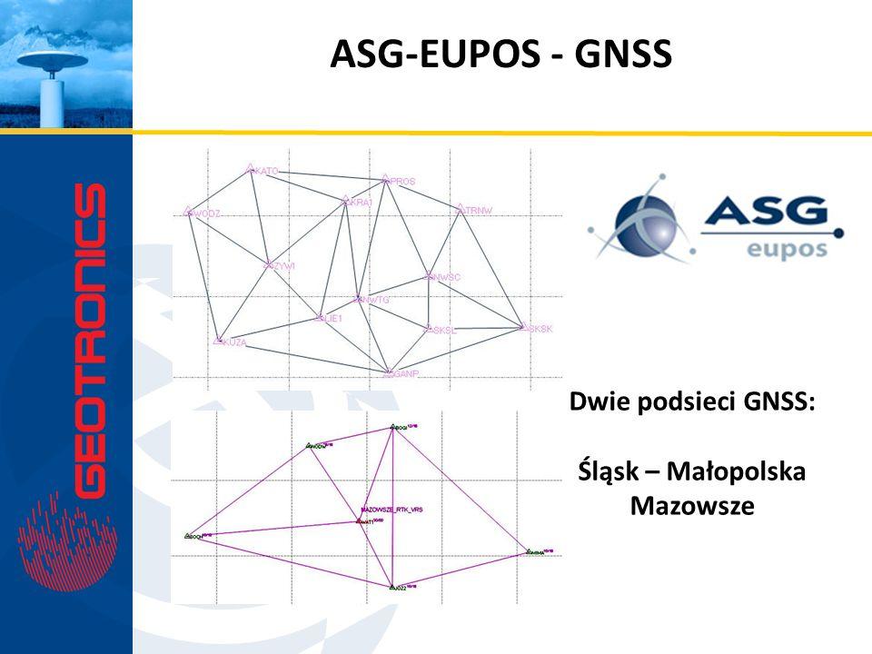 ASG-EUPOS - GNSS Dwie podsieci GNSS: Śląsk – Małopolska Mazowsze