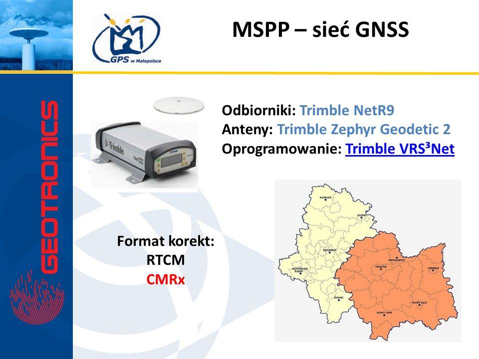 MSPP – sieć GNSS Odbiorniki: Trimble NetR9 Anteny: Trimble Zephyr Geodetic 2 Oprogramowanie: Trimble VRS³NetTrimble VRS³Net Format korekt: RTCM CMRx