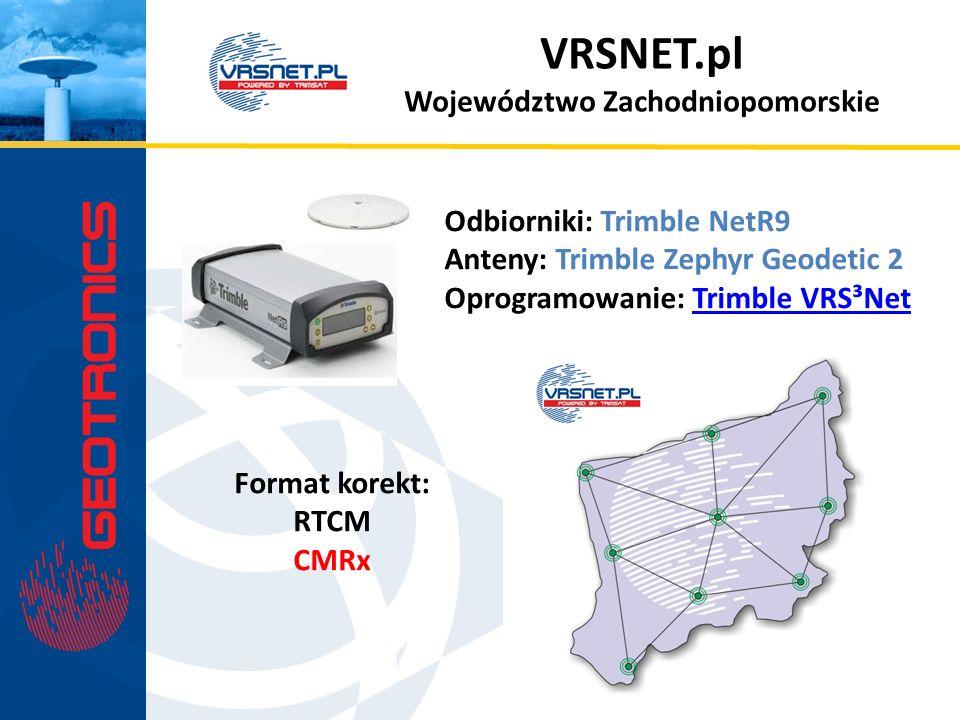 VRSNET.pl Województwo Zachodniopomorskie Odbiorniki: Trimble NetR9 Anteny: Trimble Zephyr Geodetic 2 Oprogramowanie: Trimble VRS³NetTrimble VRS³Net Fo