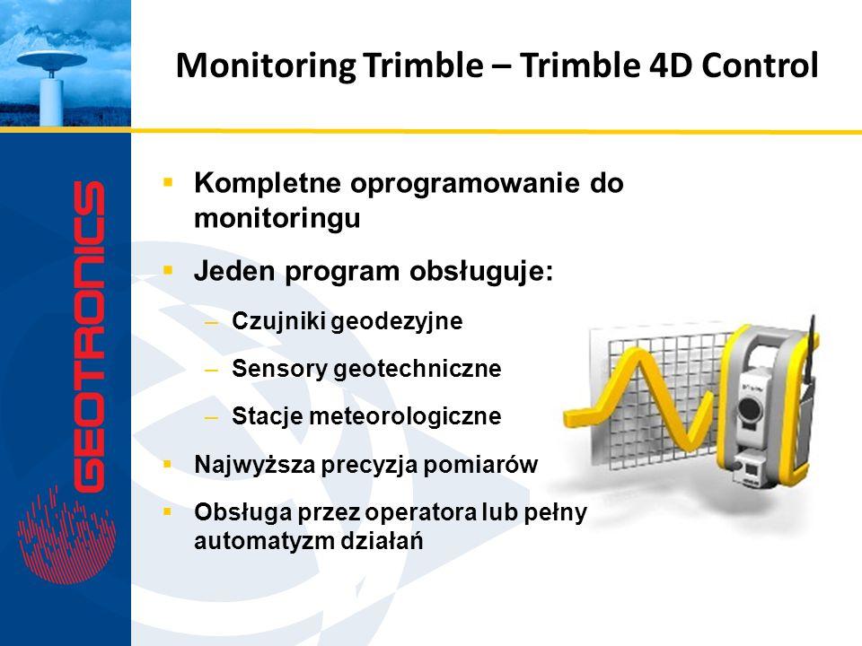 Kompletne oprogramowanie do monitoringu Jeden program obsługuje: –Czujniki geodezyjne –Sensory geotechniczne –Stacje meteorologiczne Najwyższa precyzj