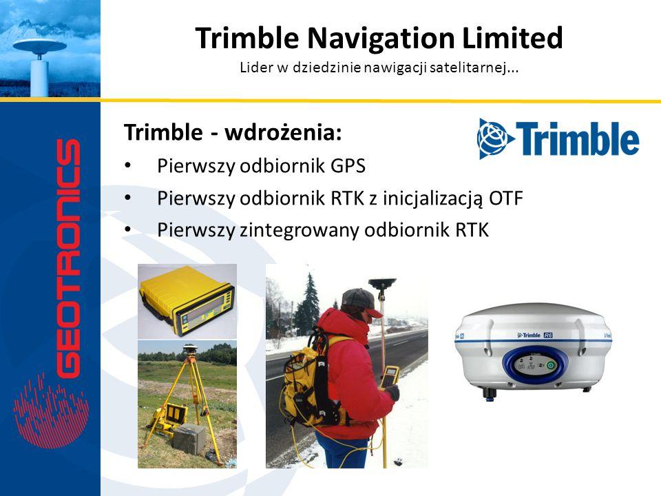 Trimble - wdrożenia: Pierwszy odbiornik GPS Pierwszy odbiornik RTK z inicjalizacją OTF Pierwszy zintegrowany odbiornik RTK Trimble Navigation Limited