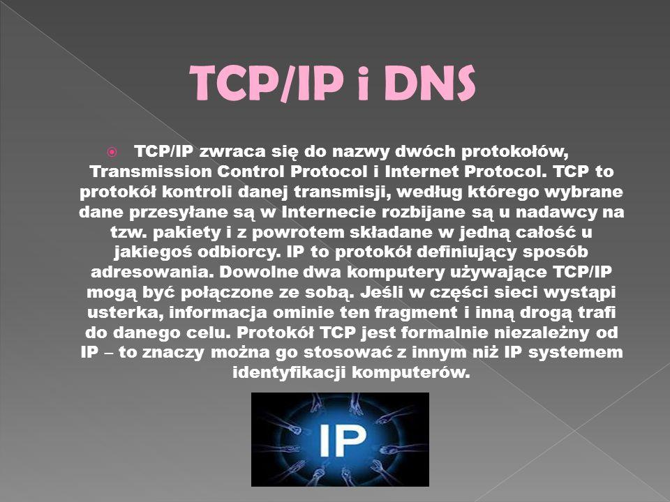 TCP/IP zwraca się do nazwy dwóch protokołów, Transmission Control Protocol i Internet Protocol. TCP to protokół kontroli danej transmisji, według któr