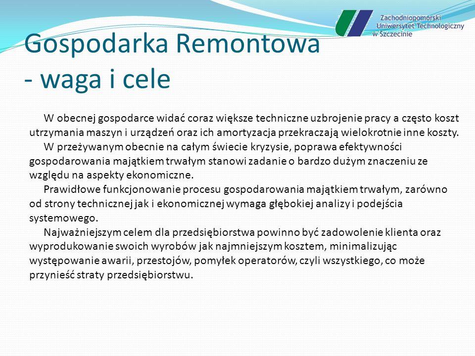 Gospodarka Remontowa - waga i cele W okresie eksploatacji urządzeń wykonuje się szereg czynności począwszy od instalacji, poprzez bieżące utrzymanie, remonty, modernizacje po likwidację.