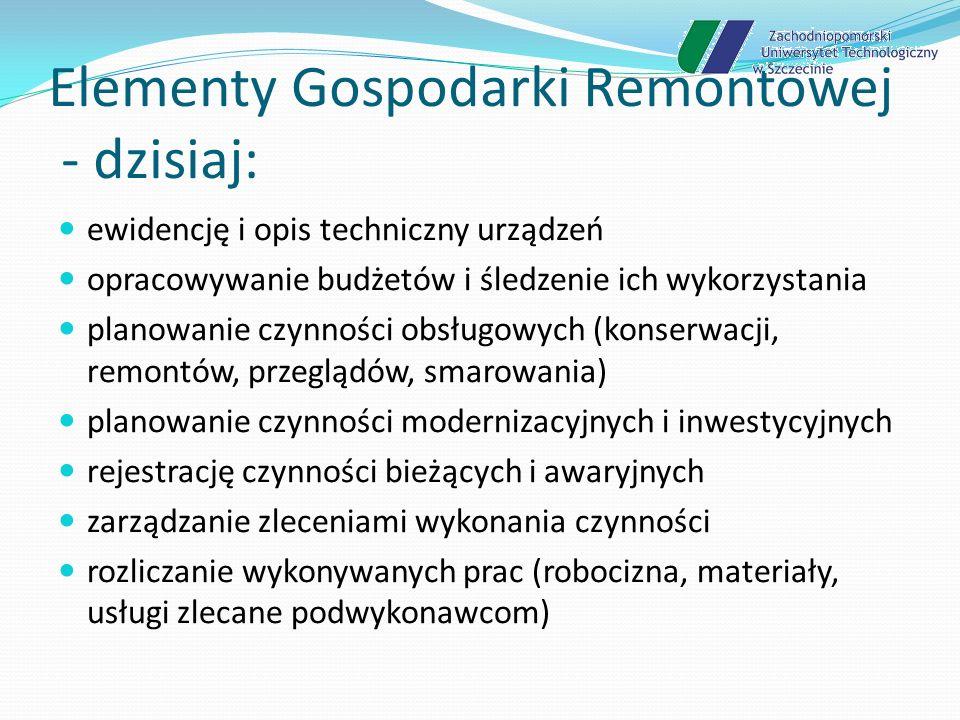 Elementy Gospodarki Remontowej - dzisiaj: nadzór nad aparaturą kontrolną i pomiarową (kalibracje, legalizacje, wzorcowania) diagnostykę działania urządzeń gospodarkę urządzeniami wymiennymi (silniki, przekładnie, wyposażenie) zarządzanie zasobami ludzkimi (planowanie prac, karty pracy) zgłaszanie usterek, uwag i potrzeb przez użytkowników urządzeń współpracę z podwykonawcami zewnętrznymi wspomaganie procedur jakościowych ISO, TPM i TQM