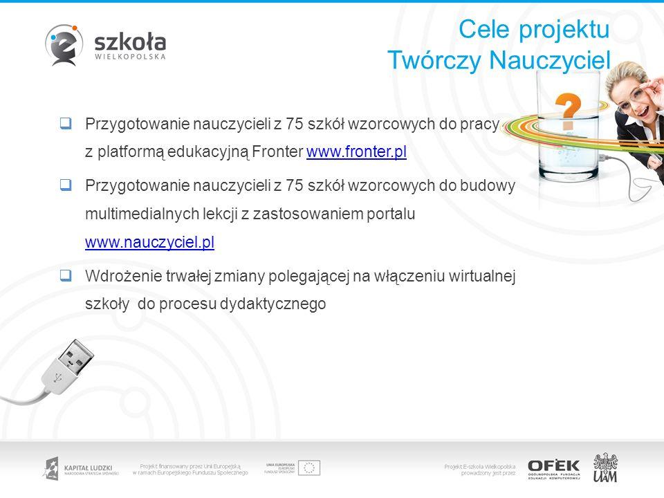 Cele projektu Twórczy Nauczyciel Przygotowanie nauczycieli z 75 szkół wzorcowych do pracy z platformą edukacyjną Fronter www.fronter.plwww.fronter.pl