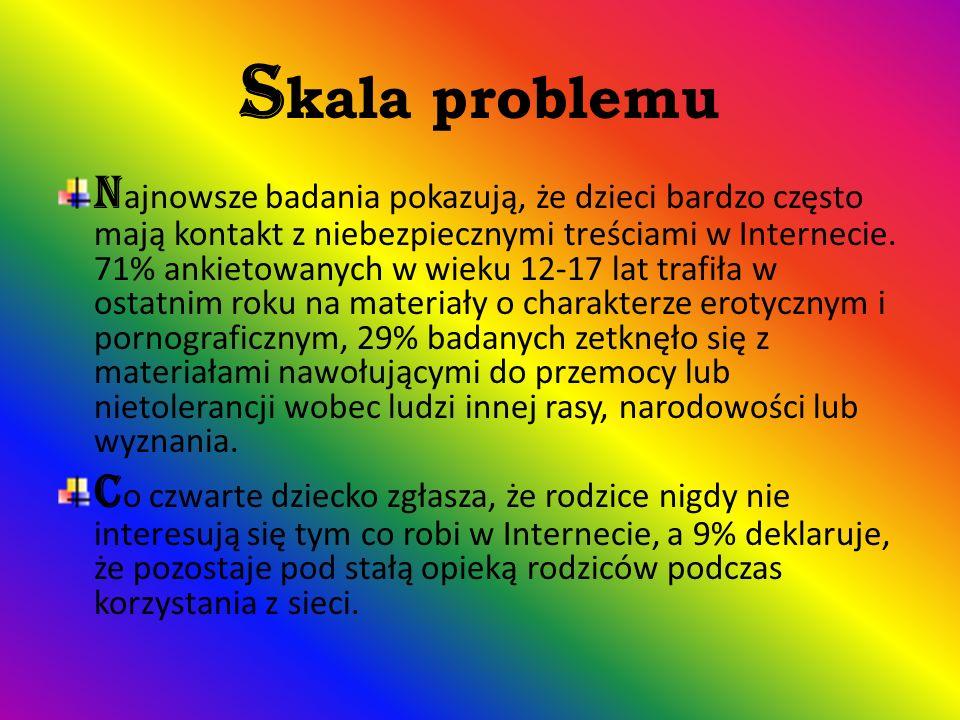 S kala problemu N ajnowsze badania pokazują, że dzieci bardzo często mają kontakt z niebezpiecznymi treściami w Internecie.