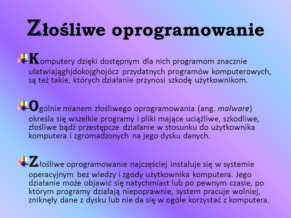 Z łośliwe oprogramowanie K omputery dzięki dostępnym dla nich programom znacznie ułatwiająghjdokojghojócz przydatnych programów komputerowych, są też takie, których działanie przynosi szkodę użytkownikom.