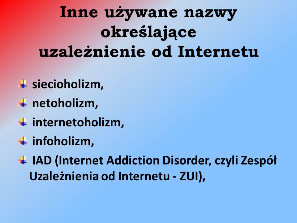 Inne używane nazwy określające uzależnienie od Internetu siecioholizm, netoholizm, internetoholizm, infoholizm, IAD (Internet Addiction Disorder, czyli Zespół Uzależnienia od Internetu - ZUI),