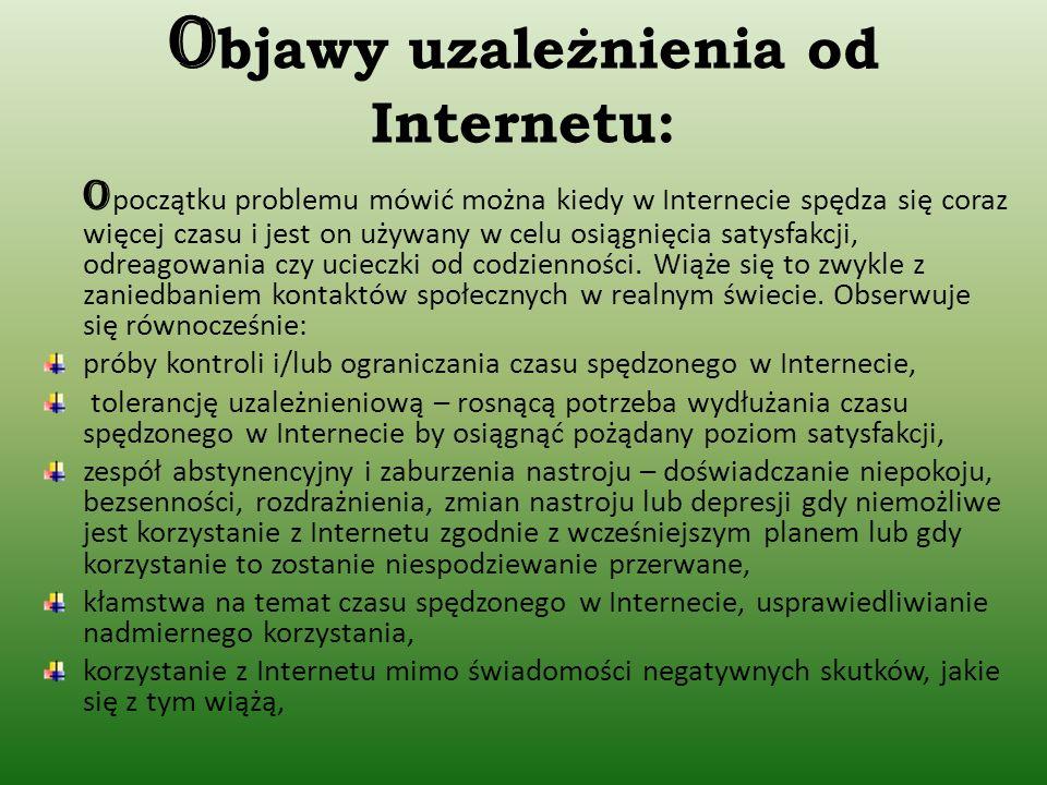 O bjawy uzależnienia od Internetu: O początku problemu mówić można kiedy w Internecie spędza się coraz więcej czasu i jest on używany w celu osiągnięcia satysfakcji, odreagowania czy ucieczki od codzienności.