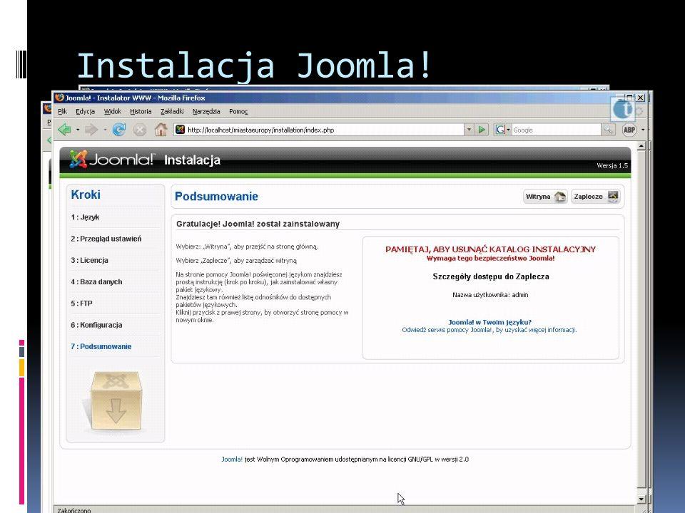 Instalacja Joomla! Uruchamiamy przeglądarkę i wpisujemy http://localhost. Uruchomi się instalator Joomlahttp://localhost